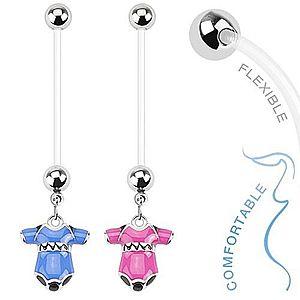 Piercing do bruška z bioflexu pre tehotné ženy, farebné detské body S49.12 vyobraziť