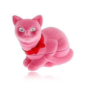 Zamatová krabička na náušnice, ružová mačka s mašľou VY1 vyobraziť