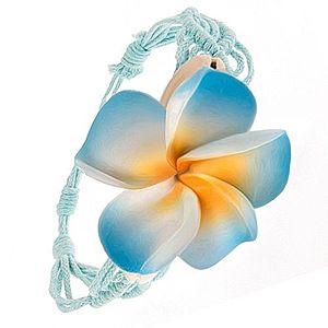 Bledomodrý pletený náramok, vzor vĺn, modrý kvet, lastúry S54.24 vyobraziť