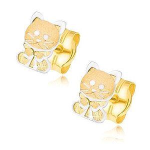 Zlaté náušnice 585 - dvojfarebné mačiatko s mašličkou GG21.19 vyobraziť