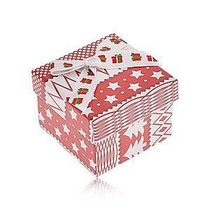 Červeno-biela darčeková krabička, vianočný motív, mašľa VY15 vyobraziť