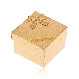 Darčeková krabička na prsteň, povrch zlatej farby, mašľa S88.10 vyobraziť