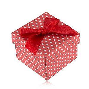 Červeno-biela bodkovaná krabička na prsteň, lesklá mašľa S87.16 vyobraziť