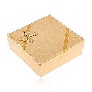 Darčeková krabička zlatej farby na šperky, vzhľad tkaniny, mašľa Y49.11 vyobraziť