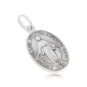 Oválny medailón s Pannou Máriou, matný, zo striebra 925 SP02.16 vyobraziť