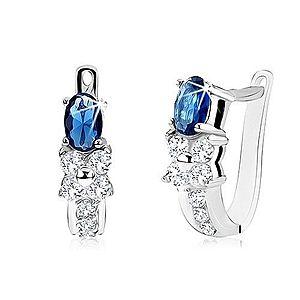 Náušnice s oválnym modrým kameňom, číry zirkónový kvet, striebro 925 SP11.11 vyobraziť