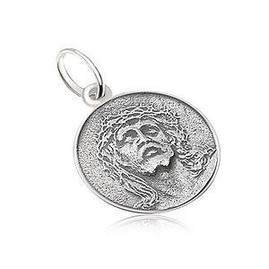 Okrúhly medailón s tvárou Ježiša, matný, patinovaný, zo striebra 925 SP28.23 vyobraziť