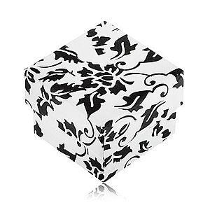 Bielo-čierna darčeková krabička na prsteň s motívom kvetov S84.03 vyobraziť