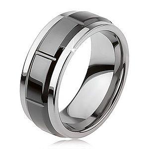 Tungstenový prsteň so zárezmi, strieborná farba, lesklý čierny povrch AB34.11 vyobraziť