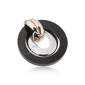 Prívesok z ocele - strieborná, medená a čierna farba, kruhy, ovál so zirkónom SP26.01 vyobraziť