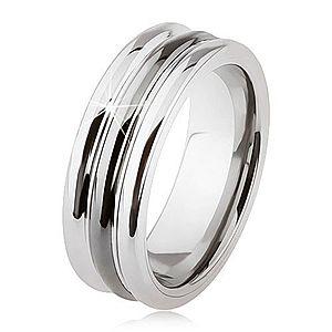 Wolfrámový prsteň s lesklým povrchom, dva zárezy, čierna a strieborná farba SP24.09 vyobraziť
