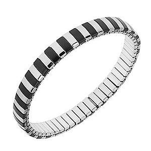 Náramok z ocele, strieborná a čierna farba, úzke pásiky, rozťahovací remienok S76.02 vyobraziť