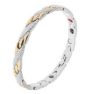 Náramok z ocele zlatej a striebornej farby, šikmé pásiky, hadí vzor, magnety SP19.14 vyobraziť