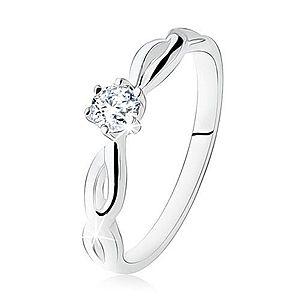 Strieborný prsteň 925, zásnubný, číry kamienok, špirálovité ramená SP18.02 vyobraziť