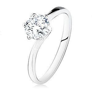 Strieborný zásnubný prsteň 925, okrúhly číry zirkón, úzke ramená SP10.26 vyobraziť