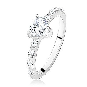 Zásnubný prsteň zo striebra 925, zirkónové srdiečko, zdobené ramená SP13.01 vyobraziť