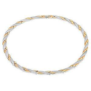 Náhrdelník z ocele, šikmé línie zlatej a striebornej farby, hadí vzor, magnety S73.05 vyobraziť