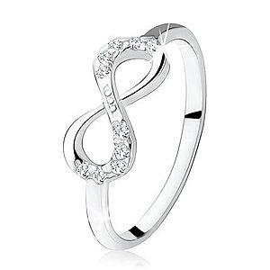 Strieborný zásnubný prsteň 925, ležiaca osmička, číre zirkóny S76.08 vyobraziť