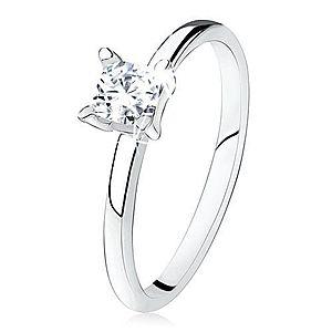 Zásnubný prsteň zo striebra 925, hladké ramená, zirkónový štvorec S81.01 vyobraziť
