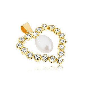 Prívesok zo žltého 9K zlata, zirkónová kontúra srdca, slzičková perla v strede GG52.09 vyobraziť