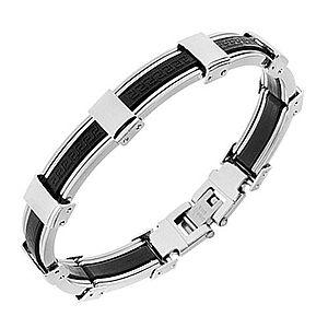 Náramok z gumy a ocele, čierna a strieborná farba, grécky kľúč S75.04/Y48.06 vyobraziť