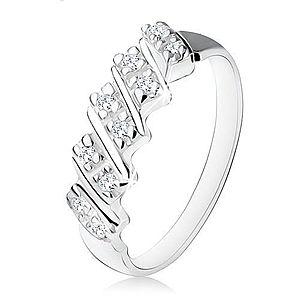 Strieborný zásnubný prsteň 925, päť šikmých pásikov s čírymi zirkónmi S85.12 vyobraziť