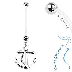Piercing do bruška z bioflexu pre tehotné ženy, oceľový prívesok kotva SP42.30 vyobraziť