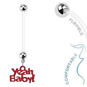 """Bioflex piercing do pupku pre tehotné ženy, guličky, nápis """"Yeah Baby!"""" SP35.29 vyobraziť"""
