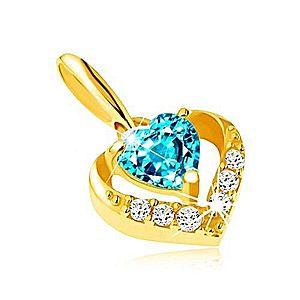 Zlatý prívesok 375 - zirkónový obrys srdca, modrý srdiečkový topás GG64.17 vyobraziť