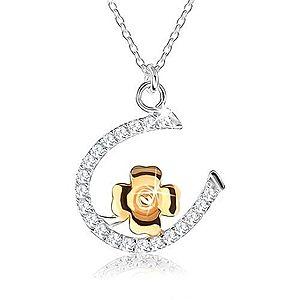 Strieborný náhrdelník 925 - retiazka s podkovičkou a štvorlístkom pre šťastie SP44.01 vyobraziť