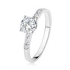 Zásnubný strieborný prsteň 925, číry zirkón, trblietavé kamienky, vrúbkovanie SP40.16 vyobraziť