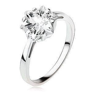 Zásnubný strieborný prsteň 925, masívny číry zirkón - hviezdica SP49.09 vyobraziť