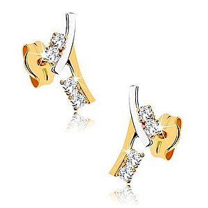Zlaté náušnice 375 - vetvička zdobená kamienkami v čírej farbe GG41.11 vyobraziť