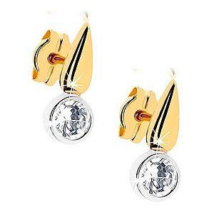 Dvojfarebné zlaté náušnice 375 - ligotavá kvapka, číry zirkón v objímke GG41.01 vyobraziť