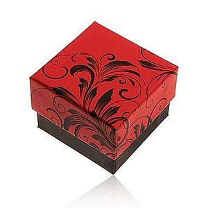Červeno-čierna darčeková krabička na prsteň, motív kvetinových ornamentov Y28.2 vyobraziť
