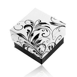 Darčeková krabička na prsteň, vzor popínavých listov, čierno-biela kombinácia Y28.4 vyobraziť