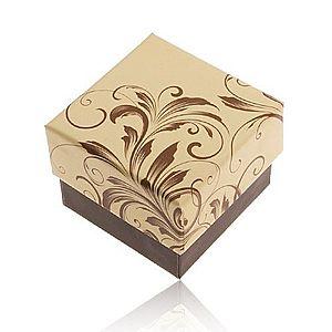 Darčeková krabička na prsteň - motív popínavých listov, žlto-hnedá kombinácia Y28.7 vyobraziť