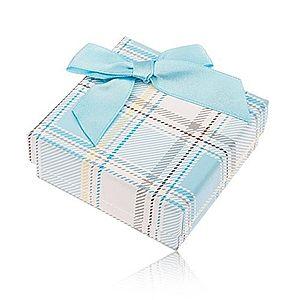 Darčeková krabička na prsteň a náušnice, károvaný motív, svetlomodrá mašlička Y28.11 vyobraziť