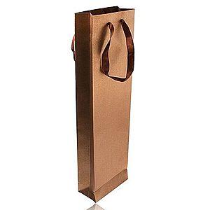Podlhovastá taška na darček bronzovej farby, trblietky, hnedé stužky Y32.19 vyobraziť