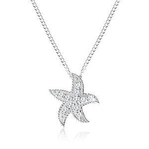 Strieborný náhrdelník 925, morská hviezdica zdobená malými okrúhlymi zirkónmi SP56.27 vyobraziť