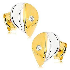 Náušnice z 9K zlata - širšia kvapka s čírym zirkónikom, dvojfarebné prevedenie GG42.06 vyobraziť