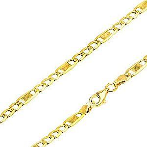 Zlatá retiazka 585, tri očká, dlhý oválny článok s mriežkou, 550 mm GG69.22 vyobraziť