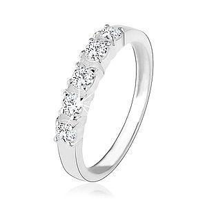 Strieborný zásnubný prsteň 925, päť vsadených čírych zirkónov HH18.5 vyobraziť