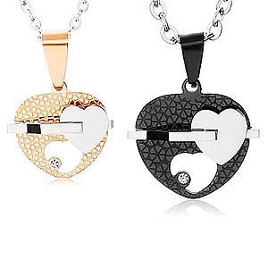 Set oceľových náhrdelníkov, dvojfarebné srdiečka s výrezom, číry zirkón U21.8 vyobraziť