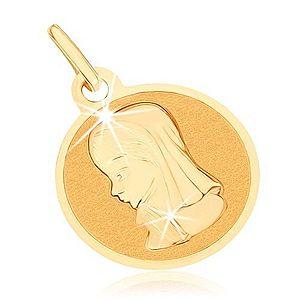 Zlatý prívesok 375 - okrúhly plochý medailón, Panna Mária GG70.09 vyobraziť
