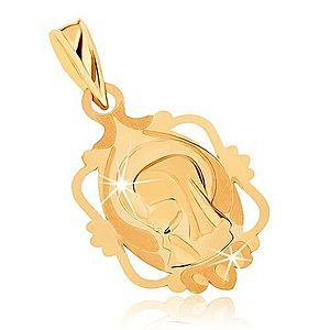 Prívesok zo žltého 9K zlata - medailón s Pannou Máriou v ozdobnom ráme GG70.10 vyobraziť