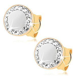 Náušnice v žltom 9K zlate - perleťový kruh, obrys zo Swarovského krištáľov GG71.07 vyobraziť