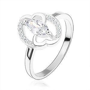 Zásnubný prsteň, striebro 925, číre zirkónové zrnko, prepojené srdcia HH2.7 vyobraziť