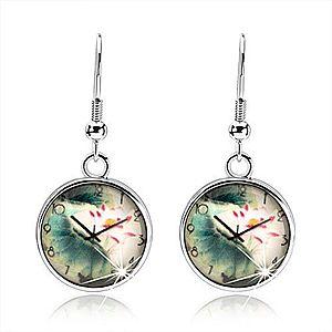 Náušnice cabochon, číra vypuklá glazúra, motív - hodinky, kvet s listami SP53.09 vyobraziť