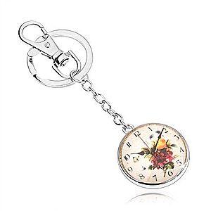 Kľúčenka v štýle cabochon, číre vypuklé sklo, motív hodín s kvetmi SP64.30 vyobraziť